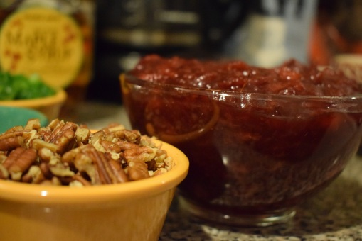 Cranberry & pear sauce with pecans. (for the cake)