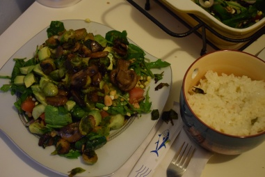 Homemade salad and side of rice. Vegan.