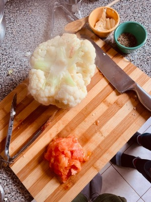 Baked cauliflower and tomatoes.