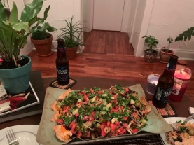 We are getting creative with our meals, this vegan nachos are my boyfriend's special. We just realized that every day is special, so...